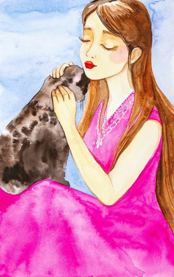 Schönes junges Mädchen mit dem langen braunen Haar und im rosa Kleid, das ihre Haustierkatze streichelt Das Mädchen schloss ih vektor abbildung