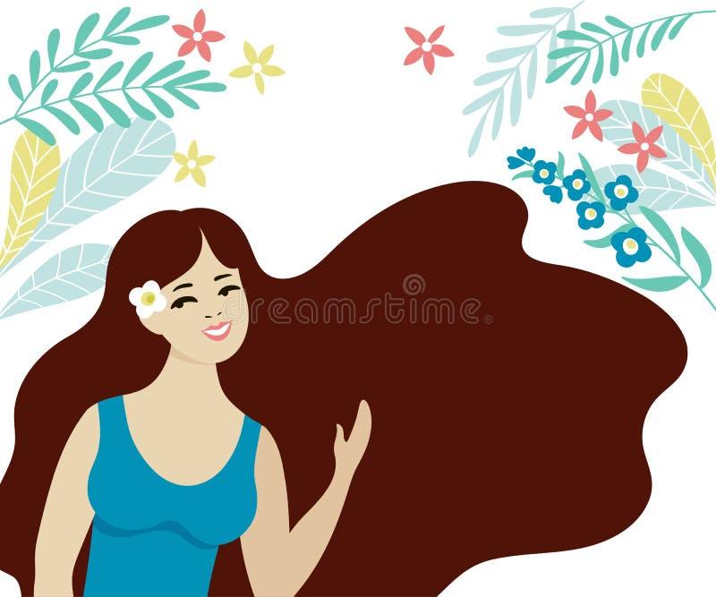 Schönes junges Mädchen mit dem langen dunklen Haar Lächelnder Brunette im blauen Kleid vektor abbildung