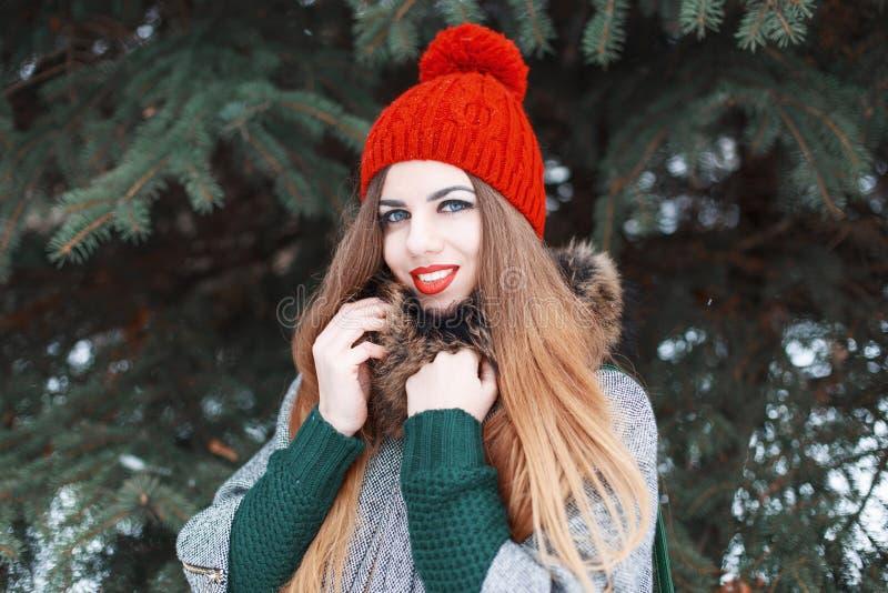 Schönes junges Mädchen mit einem netten Lächeln in Winter modernen Clo stockfotos