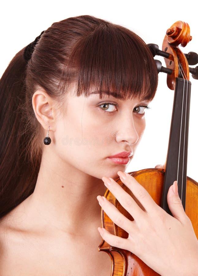 Schönes junges Mädchen mit Geige. stockfotos