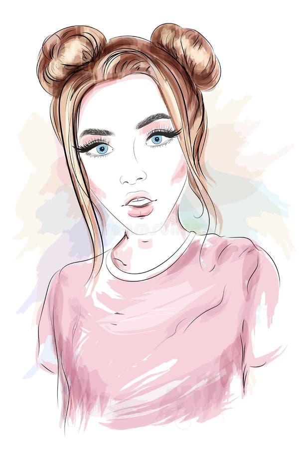 Schönes junges Mädchen mit stilvoller Frisur skizze stock abbildung