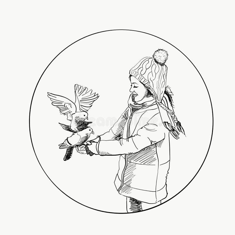 Schönes junges Mädchen und Vogel Winter Hand gezeichnete vektorabbildung stock abbildung