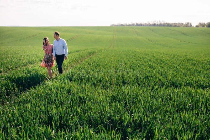 Schönes junges Paarhändchenhalten und in Wiese des Sonnenscheins im Frühjahr gehen Glückliche Familie, die im Sonnenlicht auf dem stockbilder