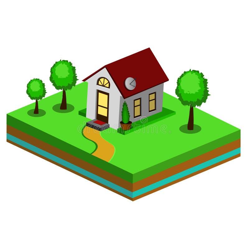 Schönes kleines isometrisches Haus lizenzfreie abbildung