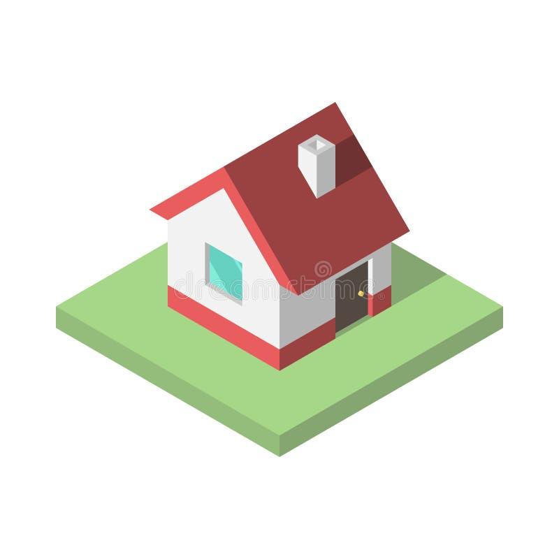Schönes kleines isometrisches Haus stock abbildung