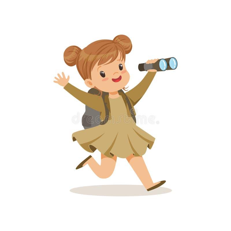 Schönes kleines Mädchen im Pfadfinderkostüm, das mit Rucksack und binokularer, Lagertätigkeitsvektor Illustration im Freien läuft vektor abbildung