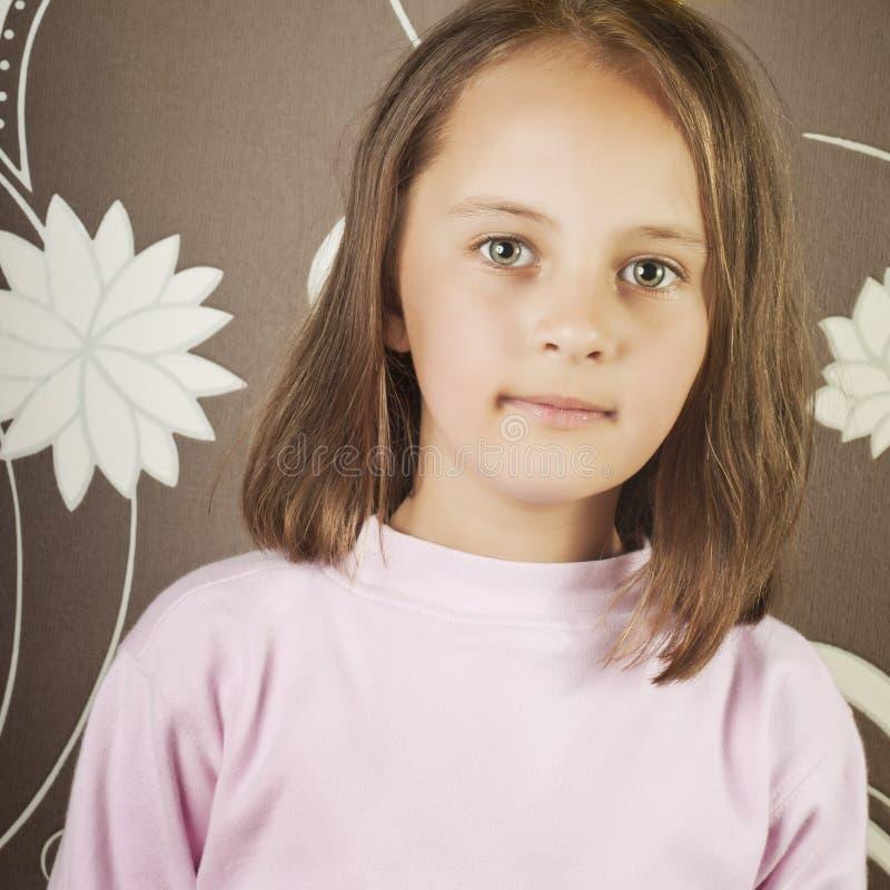 Schönes kleines Mädchen mit dem langen braunen Haar stockbild