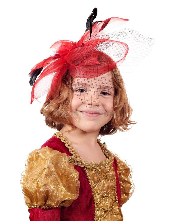 Schönes kleines Mädchen mit Schleier stockbilder