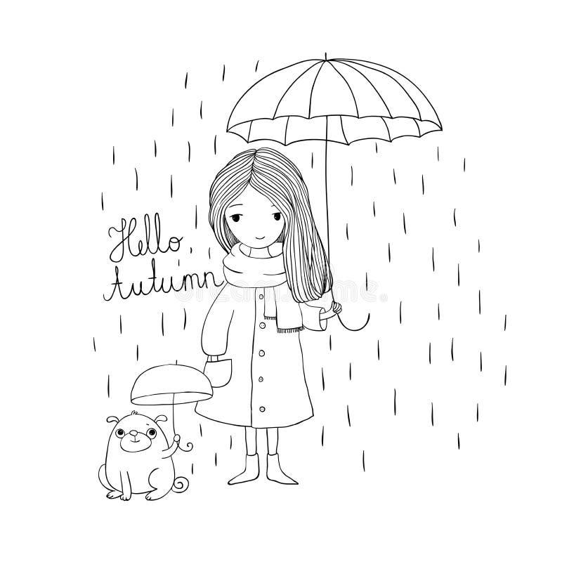 Schönes kleines Mädchen und ein netter Karikatur Pug unter einem Regenschirm lizenzfreie abbildung