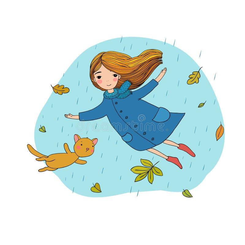 Schönes kleines Mädchen und ein nettes Karikaturkatzenfliegen mit Herbstlaub stock abbildung