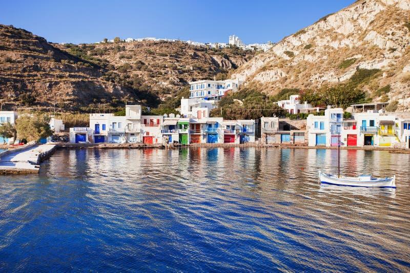 Schönes Klima-Dorf, Milos Insel, die Kykladen, Griechenland stockbilder