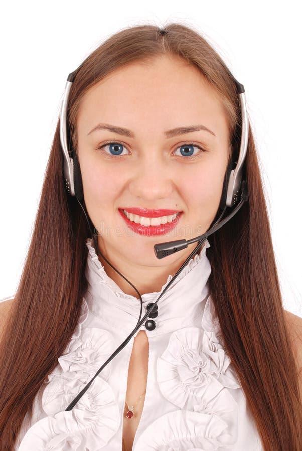 Schönes Kundendienst-Betreiberstudentenmädchen mit headse stockfotos