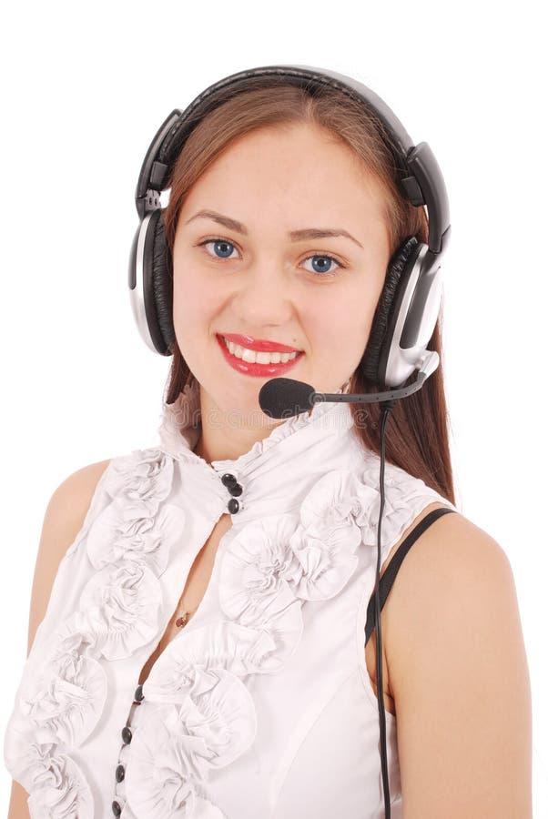 Schönes Kundendienst-Betreiberstudentenmädchen mit headse stockfoto