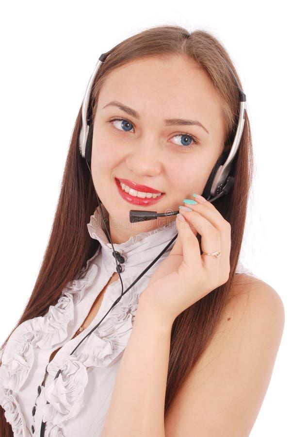 Schönes Kundendienst-Betreiberstudentenmädchen mit headse stockbilder