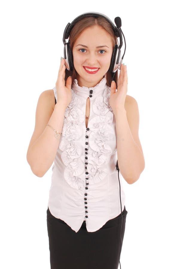 Schönes Kundendienst-Betreiberstudentenmädchen mit headse stockfotografie