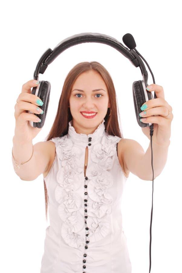 Schönes Kundendienst-Betreiberstudentenmädchen mit headse lizenzfreie stockfotos