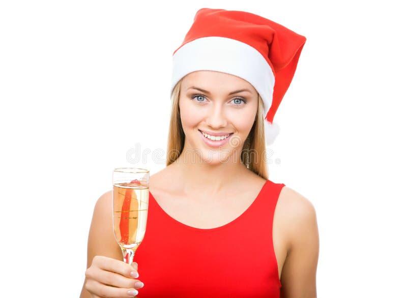 Schönes Lächeln der Weihnachtsfrau mit Glas Champagner stockfotos