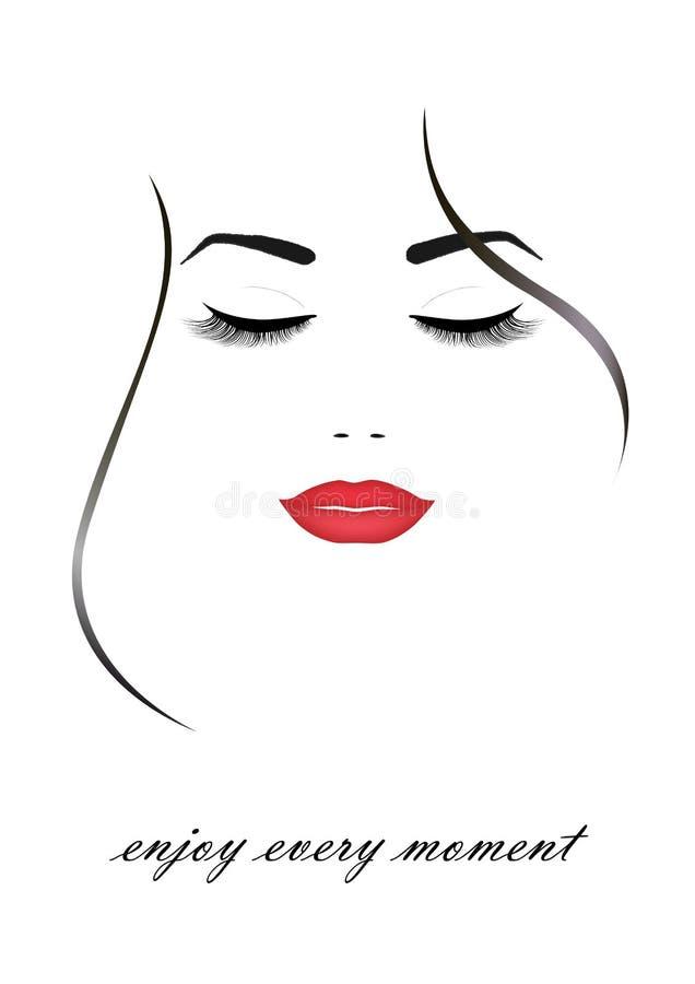 Schönes lächelndes Frauengesicht mit geschlossenen Augen und roten den Lippen, lokalisiert auf dem weißen Hintergrund, vertikaler lizenzfreie abbildung
