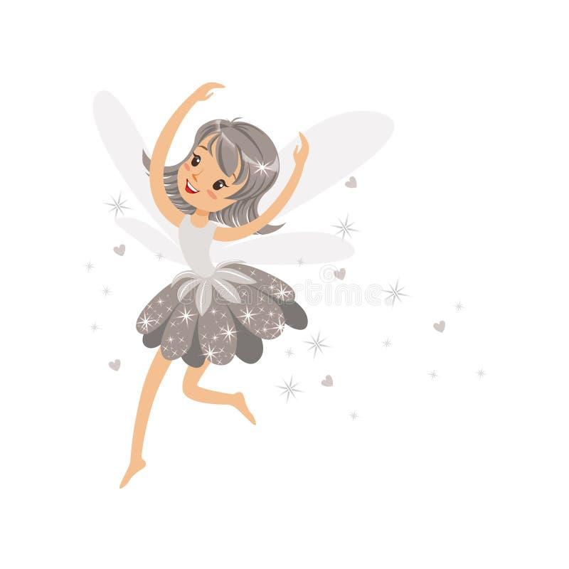 Schönes lächelndes graues feenhaftes Mädchen, das bunte Zeichentrickfilm-Figur-Vektor Illustration fliegt stock abbildung