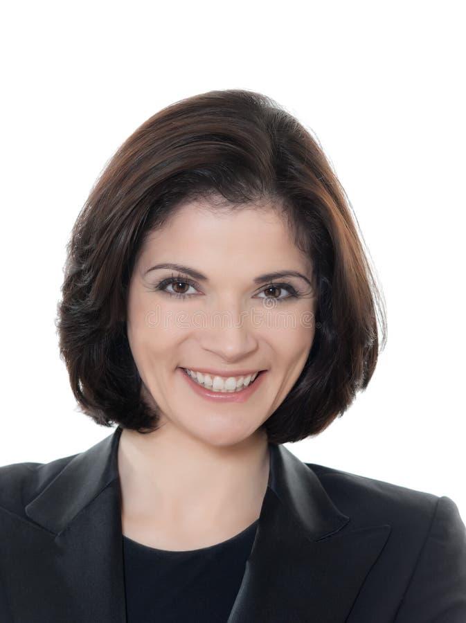 Schönes lächelndes kaukasisches Geschäftsfrauporträt stockfoto