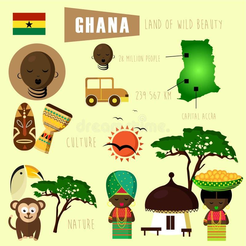 Schönes Land Ghanas von Afrika-Erbe und -kultur stock abbildung