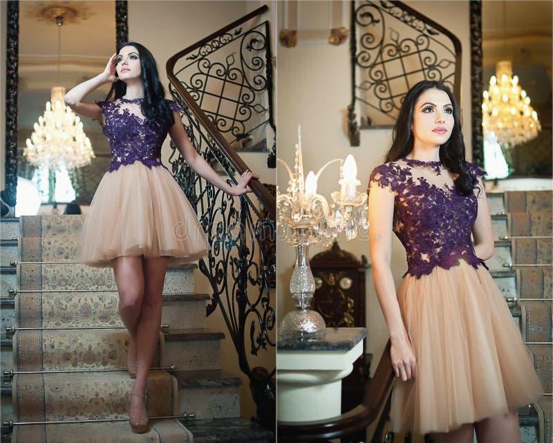Schönes langes Haarmädchen im Akt färbte das Kleid, das in einer Weinleseszene aufwirft. Junge Schönheit, die ein Spitzekleid im L lizenzfreie stockfotografie