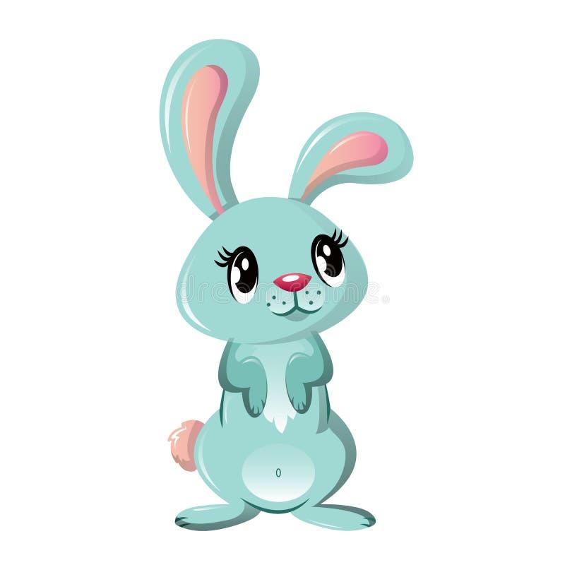 Schönes lustiges kleines Kaninchen, Haustier Reizendes flaumiges Karikaturkaninchen lizenzfreie abbildung