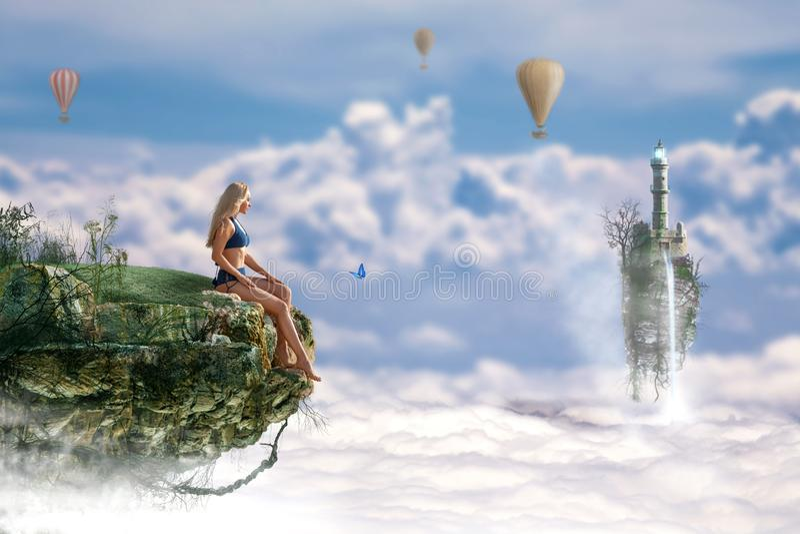 Schönes Mädchen, das auf die Fantasiefliegeninsel reist lizenzfreies stockbild