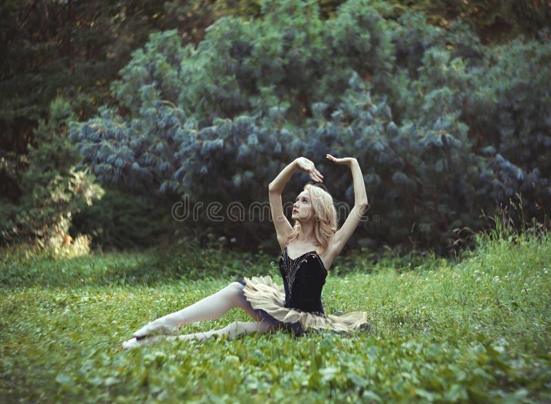Schönes Mädchen, das auf einem Gras im Sommerpark liegt und stillsteht lizenzfreies stockbild