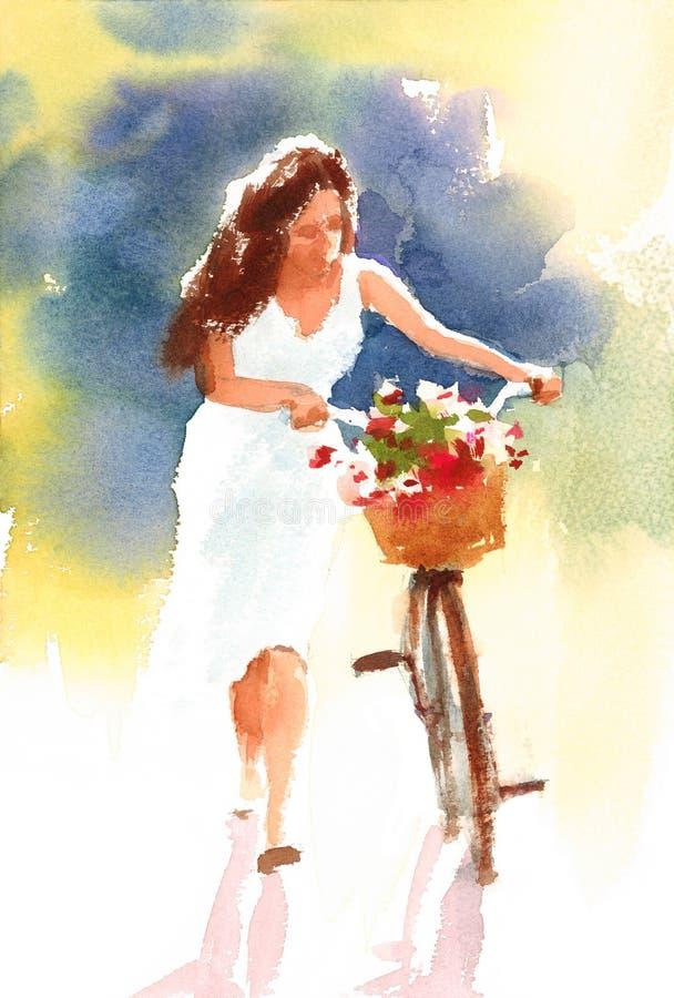 Schönes Mädchen, das ein Weinlese-Fahrrad mit einer Blumenkorb Aquarell-Sommer-Garten-Illustration handgemalt geht lizenzfreie abbildung