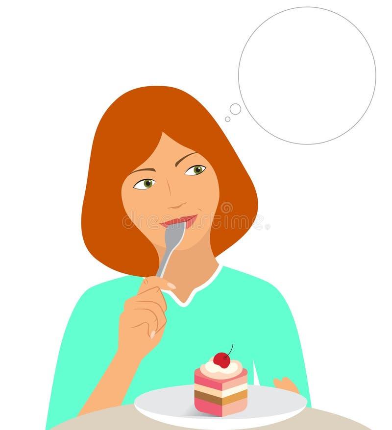 Schönes Mädchen, das einen Kuchen denkt und isst vektor abbildung