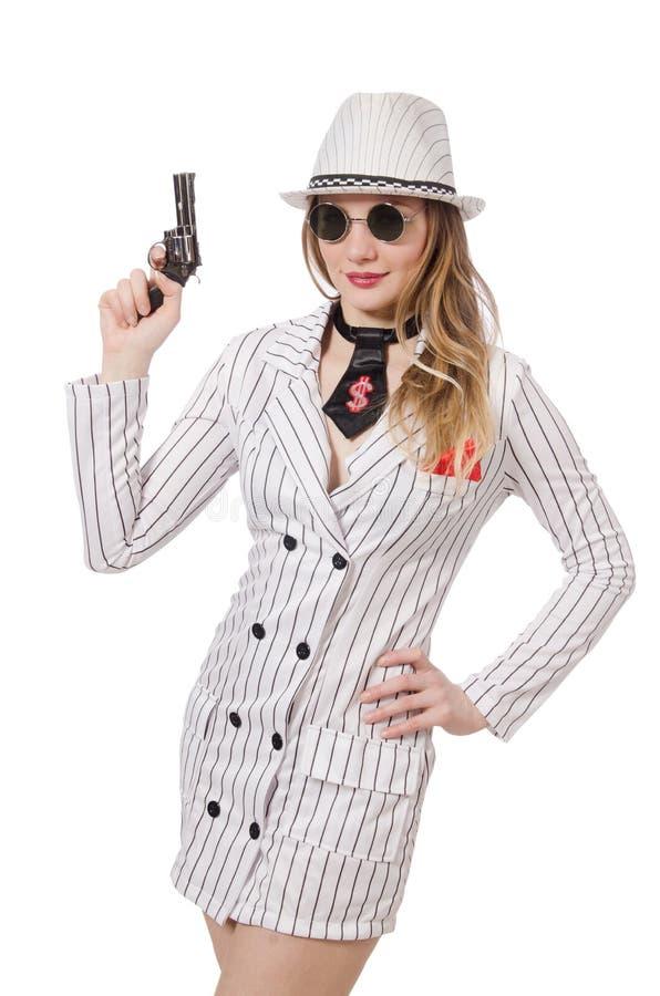 Schönes Mädchen, das Faustfeuerwaffe hält stockfotografie