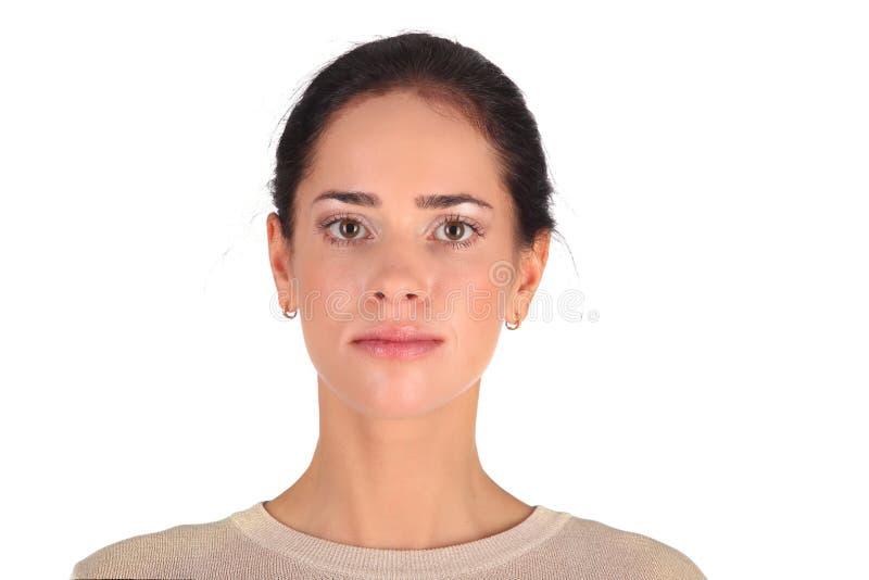 Schönes Mädchen, das ihr Gesicht berührt Schönes Mädchen getrennt auf weißem Hintergrund Weiche Haut Skincare Konzept lizenzfreie stockfotos