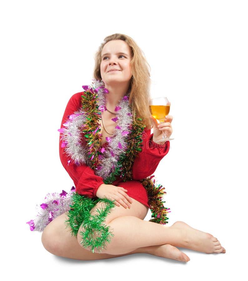 Schönes Mädchen, das neues Jahr feiert stockbilder