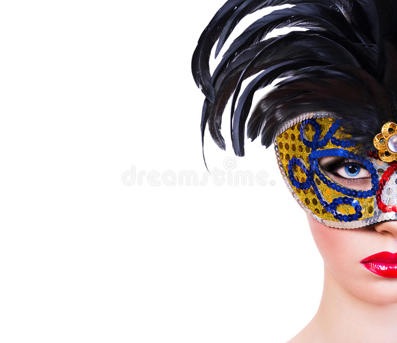 Schönes Mädchen in der Karnevalsmaske stockfotos