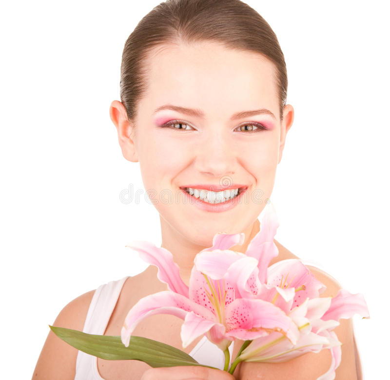 Schönes Mädchen des Portraits mit Blume. Fokus auf Augen stockfotos