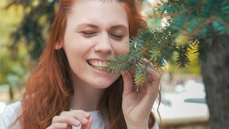 Schönes Mädchen des strengen Vegetariers der Rothaarigen, das Kiefernnadeln isst stockfotografie