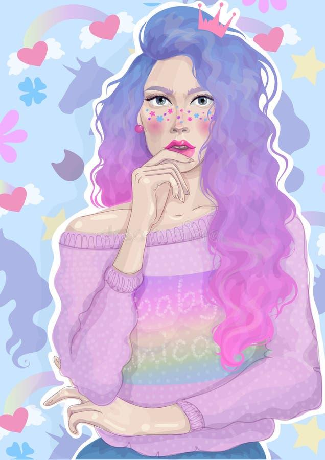 Schönes Mädchen des Vektors mit modischer heller Haar- und Regenbogenstrickjacke hat über den Hintergrund von Blumen und von Einh vektor abbildung