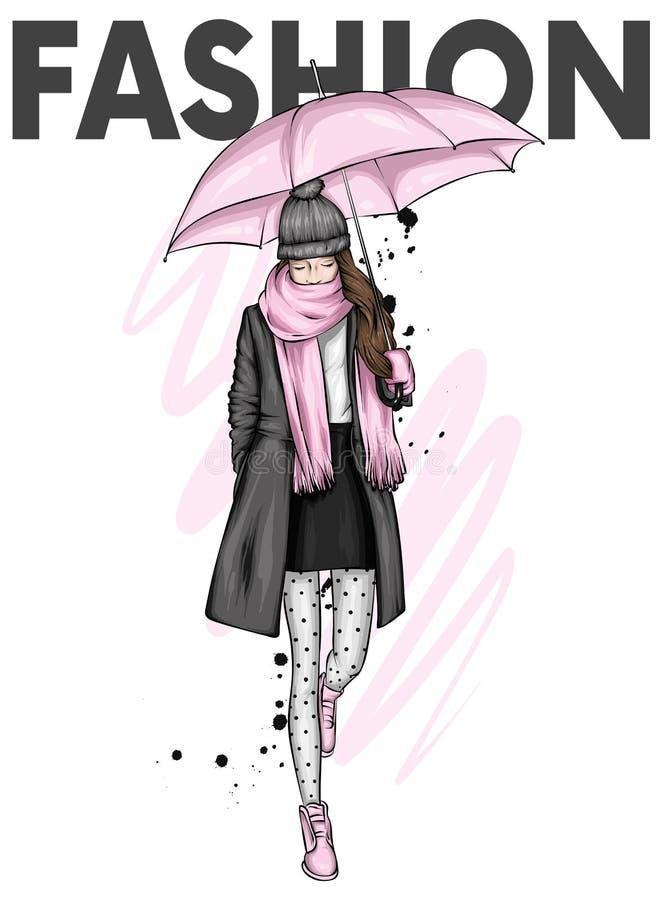 Schönes Mädchen in einem modischen Mantel, in einem Stiefel, in einem Schal und in einem Hut Herbstkleidung und -regenschirm Herb lizenzfreie abbildung