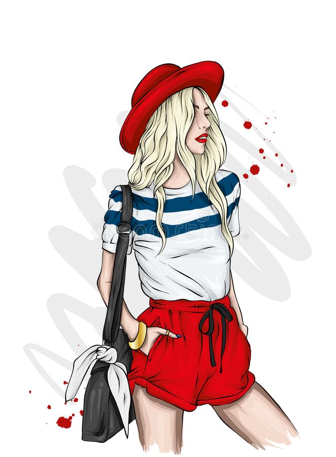 Schönes Mädchen in einem stilvollen Hut, in einem T-Shirt und in kurzen Hosen Sommerkleidung Mode u. Art Vektorillustration für G lizenzfreie abbildung