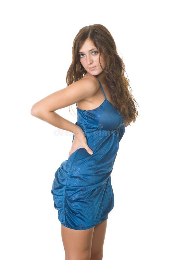 Schönes Mädchen im Blau lizenzfreies stockfoto