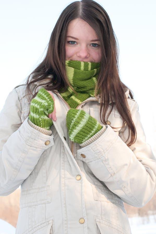 Schönes Mädchen im Grün über Winterlandschaft stockbild