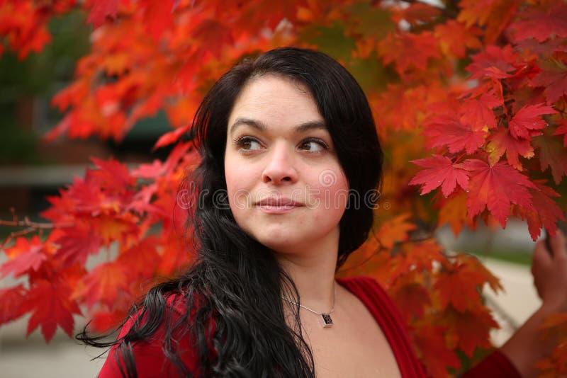 Schönes Mädchen im Herbstlaub lizenzfreie stockbilder
