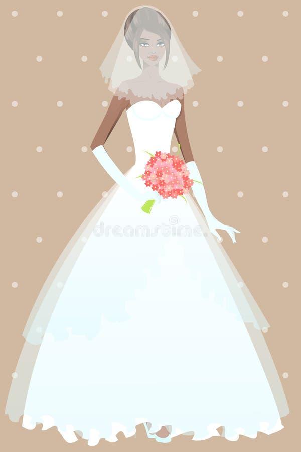 Schönes Mädchen im Hochzeitskleid lizenzfreie abbildung