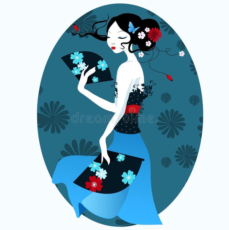 Schönes Mädchen im japanischen Kleid mit Fan in der Hand stock abbildung
