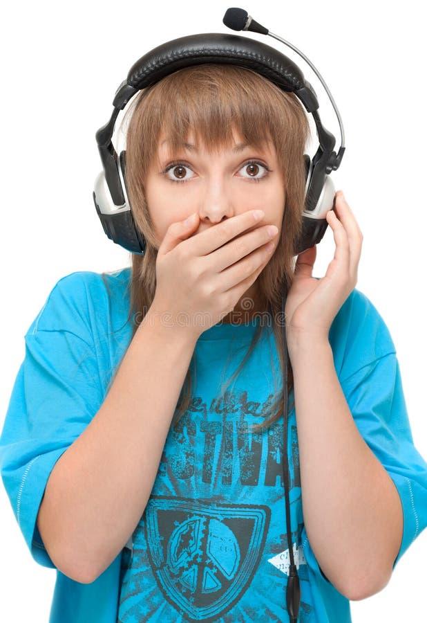 Schönes Mädchen im Kopfhörer lizenzfreies stockfoto
