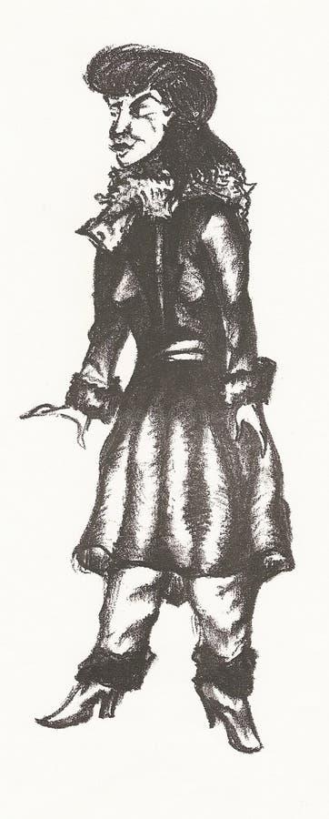 Schönes Mädchen im Pelz-Hut vektor abbildung