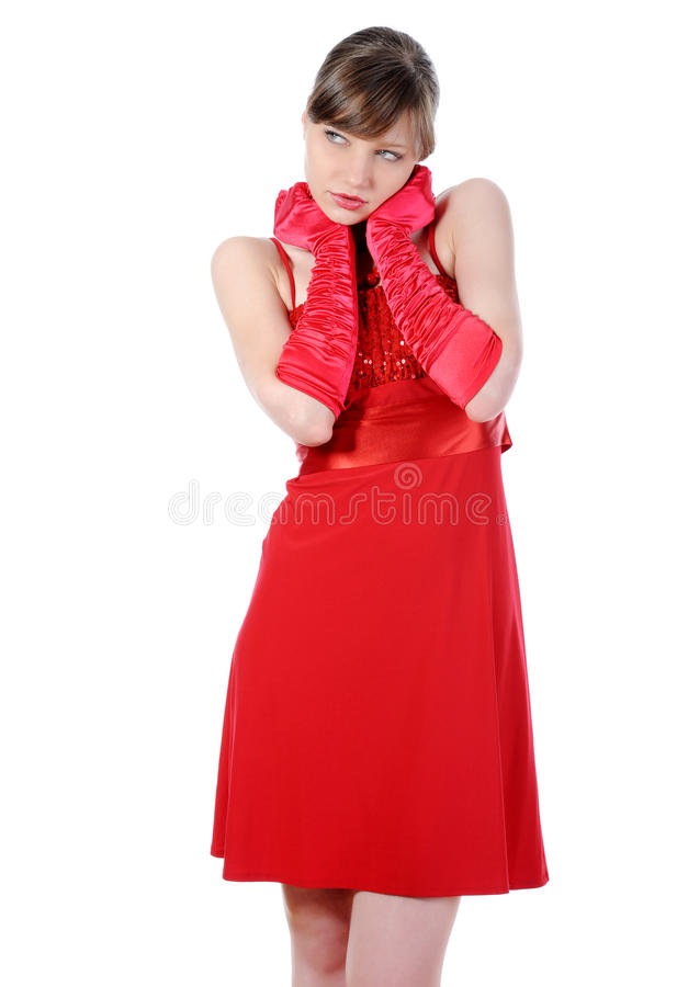 Schönes Mädchen im roten Kleid. stockbild
