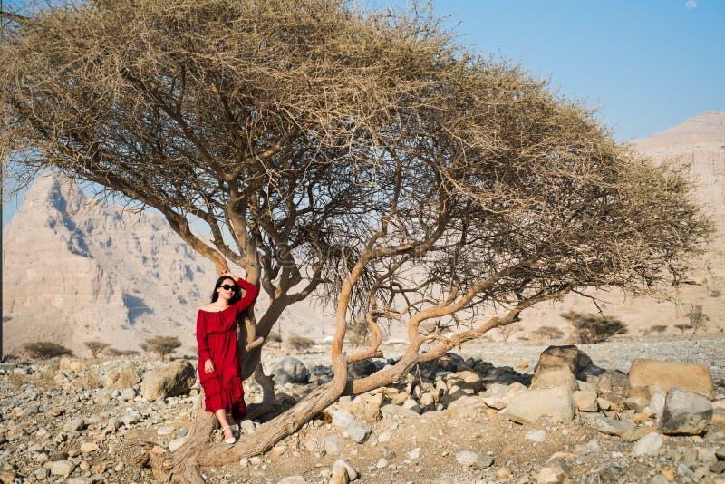 Schönes Mädchen im roten Kleidergebrüll-Wüstenbaum lizenzfreies stockbild