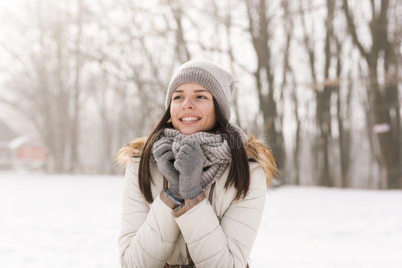 Schönes Mädchen im Schnee lizenzfreie stockfotografie